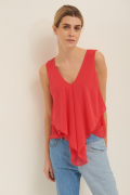TOP GEORGETTE PUNTA DAVANTI FRAGOLA